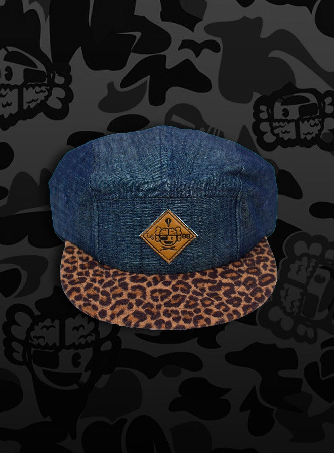 Image of 'Raphael' - 3 K.N.G.'s Grey/Leopard Chambray 5-Panel Cap