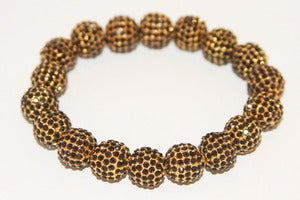 Image of Pave Gold Plated Jet Crystal Stretch Bracelet