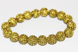 Image of Pave Gold Plated Peridot Crystal Stretch Bracelet