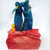 Image of Vintage Sari Silk Furoshiki Gift Wrap Set, 2 large