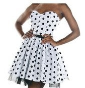Image of Black &amp; White Polka Dot Mini Party Dress