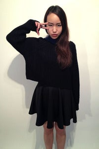 Image of knit black cable detail crop jumper