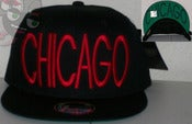 Image of Chicago Black Sky Script Snapback Hat w/ Printed Underbill