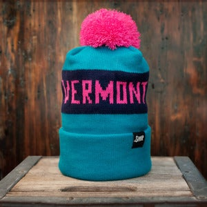 Image of The Vermont Pom Beanie - Teal, Pink, Navy