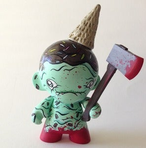 "Image of ""Mint chocolate massacre"" hand painted mini munny (SOLD OUT)"