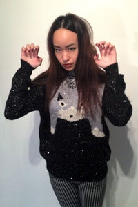 Image of knitted meow sequinned open knit jumper