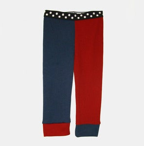 Image of Wooly Jester Leggings - Navy+Tomato