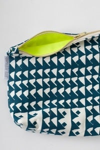 Image of limited edition NEON YELLOW & AQUA zippered pouch