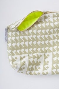 Image of limited edition NEON YELLOW & KHAKI zippered pouch