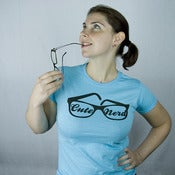 Image of Sassy Glasses Cute Nerd tee - light blue