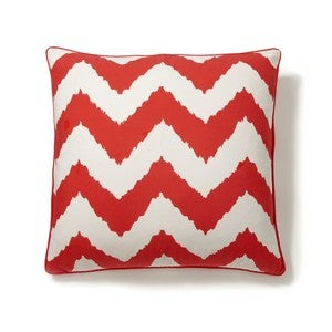 Image of Chevron Ikat Print Pillow Cover- Scarlet Red