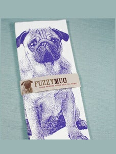 Image of Fuzzy Mug Hand-Printed Flour Sack Tea Towels