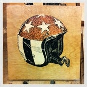 Image of Captain America Helmet wood print