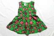 Image of Green and Pink Kenyan print cotton girls summer dress