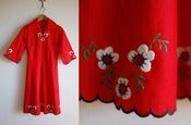 Image of vintage embroidered red dress