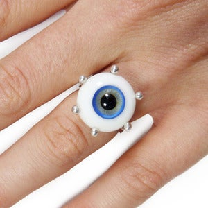 Image of Small Silver & Glass Eyeball Ring