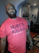 Image of BEARDS IN THE BUILDING T-SHIRT RED WITH BLACK PRINT N WHITE PRINT