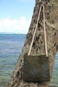 "Image of  vintage french linen canvas small cross shoulder bag purse - sea faring sling ""blue coral"""