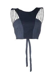 Image of ONE MORE ONE LESS Navy Backless Crop Top 