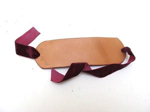 Image of Leather and Burgundy Ribbon Cuff Bracelet for Women
