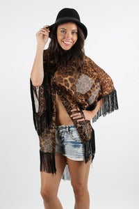 Image of JUNGLE KITTY FRINGE KIMONO