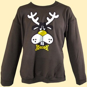 Image of Unisex Dopey Dasher the Reindeer Christmas Sweatshirt - Chocolate Brown