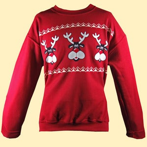 Image of Unisex Retro Reindeer Christmas Sweatshirt - Antique Red