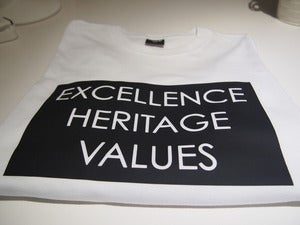 Image of EXCELLENCE - HERITAGE - VALUES TEE BLACK ON WHITE