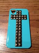 Image of Turquoise 3-D Gold Cross 4/4s iPhone Case
