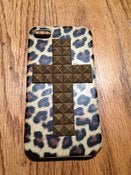 Image of Leopard Print 3-D Gold Cross 4/4s iPhone Case