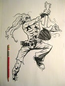 "Image of ""GUITAR ZOMBIE"" original inked drawing"
