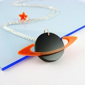Image of i am acrylic Saturn and Star Necklace