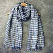 Image of checked linen scarf