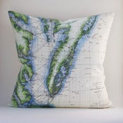 "Image of Vintage EASTERN SHORE CHESAPEAKE BAY Chart 18"" x 18"" Pillow Cover"