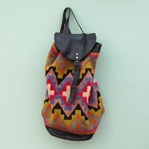 Image of Vintage Bright Aztec Leather Backpack Bag