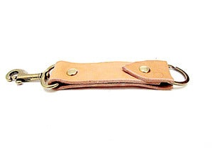 Image of Leather Keychain with Brass Snap Belt Clip Hook Made in USA