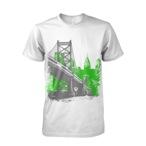 Image of Ben Franklin Bridge Tee (White/Green/Grey)