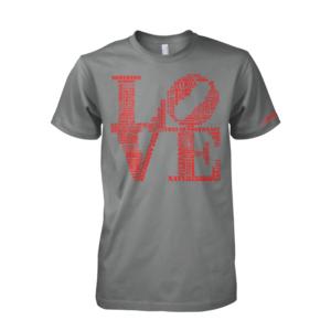 Image of Classic LOVE Tee (Grey/Red)
