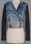 Image of Two toned acid washed denim jacket