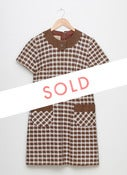 Image of 1960s Brown and Cream houndstooth Shift Dress