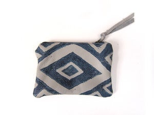 Image of Extra-small grey/navy Diamonds hand-printed leather pouch/wallet