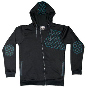 Image of Tempest Quilted Hoodie (Black/Blue) 