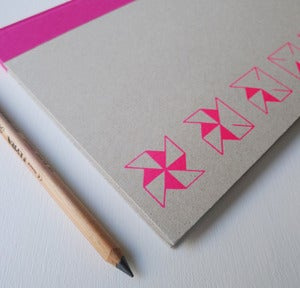 Image of A4 hardback sketch book in pink