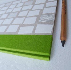 Image of A4 hardback sketch book in green