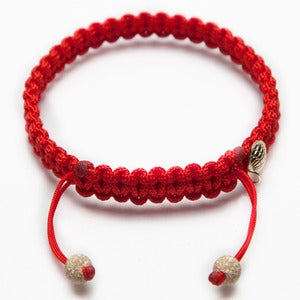 Image of Red Silk Bracelet w/ Gold Laser Cut