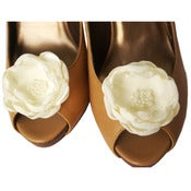 Image of Bridal Shoe Clips. Ivory Wedding.
