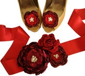 Image of Red Bridal Sash and Shoe Clips by Nia Person