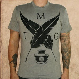 Image of MTG Quill & ink logo - tri-blend - warm grey