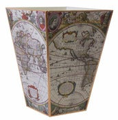Image of Old World Map Wastebasket