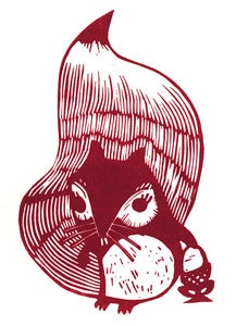 Image of hands off me nuts! - Limited Edition Lino Print - Squirrel